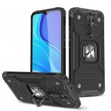 Wozinsky Ring Armor Case Kickstand Tough Rugged Cover for Xiaomi Redmi 10X 4G / Xiaomi Redmi Note 9 black
