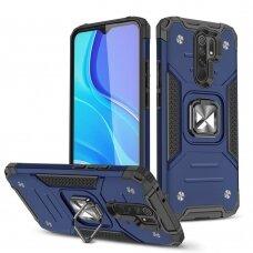 Wozinsky Ring Armor Case Kickstand Tough Rugged Cover for Xiaomi Redmi 10X 4G / Xiaomi Redmi Note 9 blue