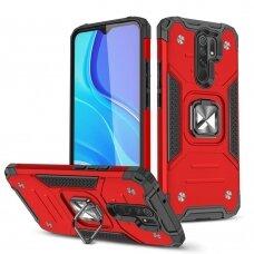 Wozinsky Ring Armor Case Kickstand Tough Rugged Cover for Xiaomi Redmi 10X 4G / Xiaomi Redmi Note 9 red