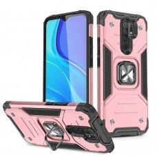 Wozinsky Ring Armor Case Kickstand Tough Rugged Cover for Xiaomi Redmi 9 pink