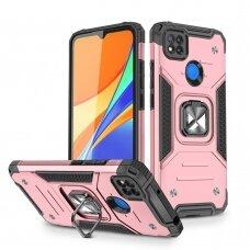 Wozinsky Ring Armor Case Kickstand Tough Rugged Cover for Xiaomi Redmi 9C pink