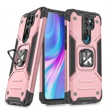 Wozinsky Ring Armor Case Kickstand Tough Rugged Cover for Xiaomi Redmi Note 8 Pro pink
