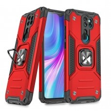 Wozinsky Ring Armor Case Kickstand Tough Rugged Cover for Xiaomi Redmi Note 8 Pro red