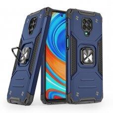 Wozinsky Ring Armor Case Kickstand Tough Rugged Cover for Xiaomi Redmi Note 9 Pro / Redmi Note 9S blue