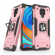 Wozinsky Ring Armor Case Kickstand Tough Rugged Cover for Xiaomi Redmi Note 9 Pro / Redmi Note 9S pink