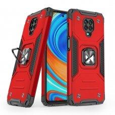 Wozinsky Ring Armor Case Kickstand Tough Rugged Cover for Xiaomi Redmi Note 9 Pro / Redmi Note 9S red