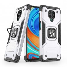 Wozinsky Ring Armor Case Kickstand Tough Rugged Cover for Xiaomi Redmi Note 9 Pro / Redmi Note 9S silver