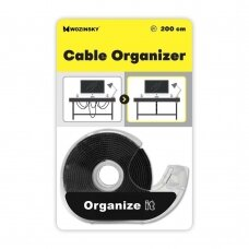 Wozinsky straps cable organizer 2 m Hook and Loop black (WVO2MBK)